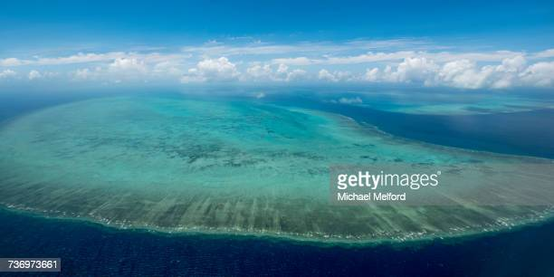 An aerial view of The Great Barrier Reef, the worlds largest coral reef.