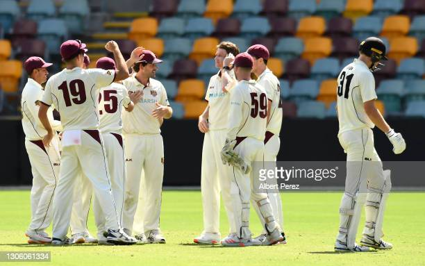 Queensland Bulls celebrate after Cameron Green of Western Australia was caught out by Joe Burns of Queensland from a Brendan Doggett delivery during...