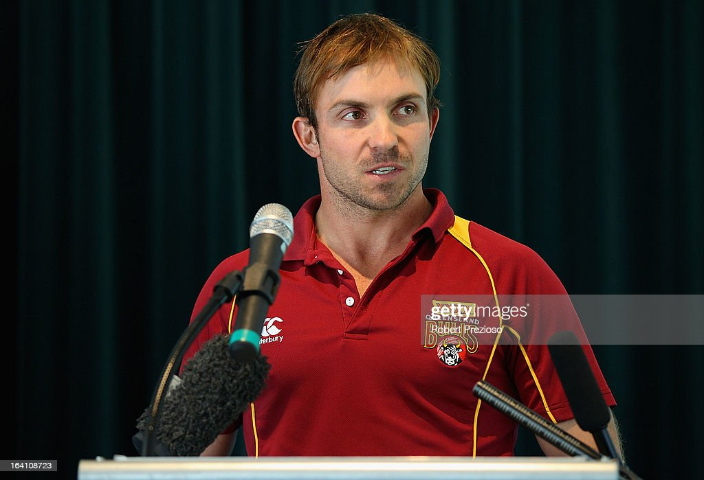 Queensland Bulls player Chris Hartley speaks during the State Cricket Awards at Blundstone Arena on March 20, 2013 in Hobart, Australia.