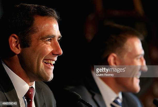 Queensland Captain Cameron Smith and NSW Captain Paul Gallen talk to the media during the 2015 State of Origin Series Launch at Eureka Tower on March...