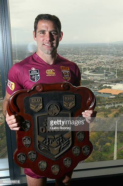Queensland Captain Cameron Smith poses with the State of Origin Shield during the 2015 State of Origin Series Launch at Eureka Tower on March 17 2015...