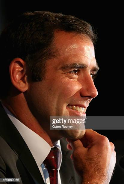 Queensland Captain Cameron Smith talks to the media during the 2015 State of Origin Series Launch at Eureka Tower on March 17 2015 in Melbourne...