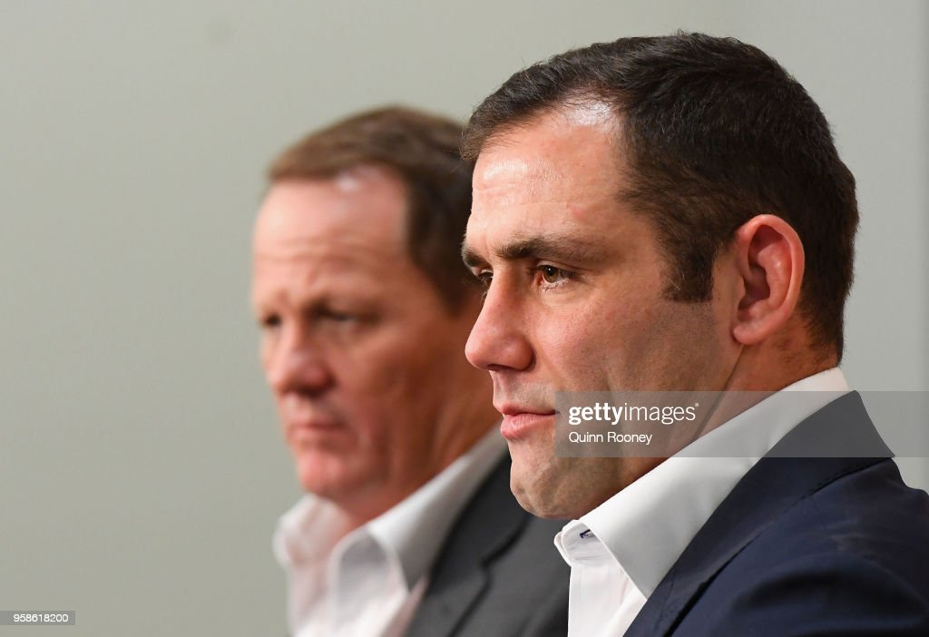 Queensland coach Kevin Walters and Cameron Smith of the Maroons speak to the media during a press conference at AAMI Park on May 15, 2018 in Melbourne, Australia.