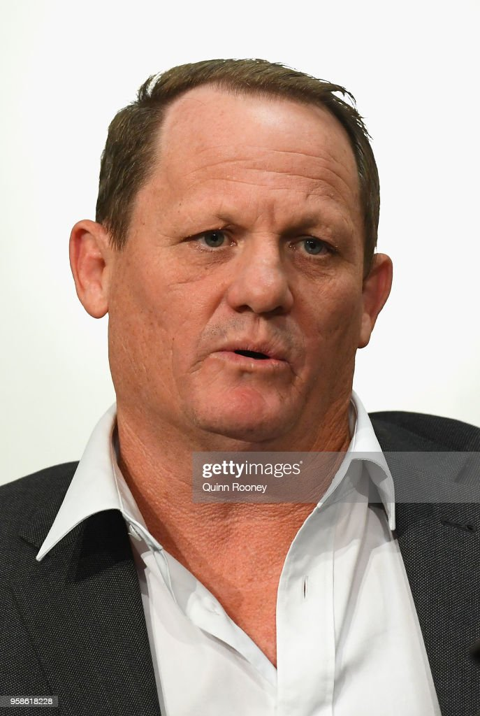Queensland coach Kevin Walters speaks to the media during a press conference at AAMI Park on May 15, 2018 in Melbourne, Australia.