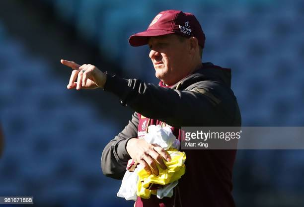 Queensland coach Kevin Walters talks to players during the Queensland Maroons State of Origin captain's run at ANZ Stadium on June 23 2018 in Sydney...