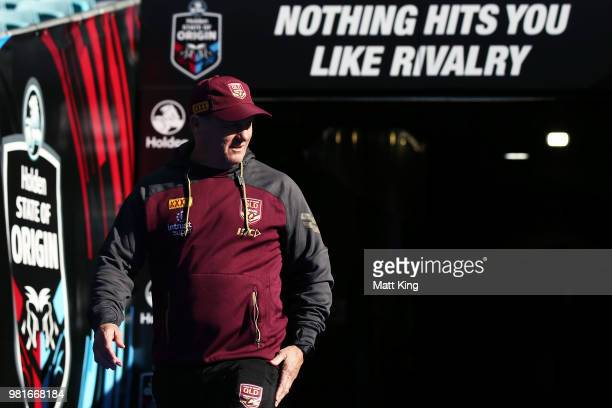 Queensland coach Kevin Walters walks onto the field during the Queensland Maroons State of Origin captain's run at ANZ Stadium on June 23 2018 in...