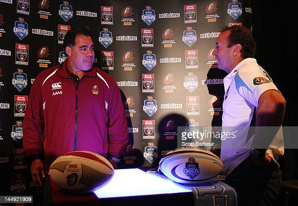 Queensland Coach Mal Meninga and New South Wales Coach Ricky Stuart talk during a State of Origin press conference at Etihad Stadium on May 21 2012...