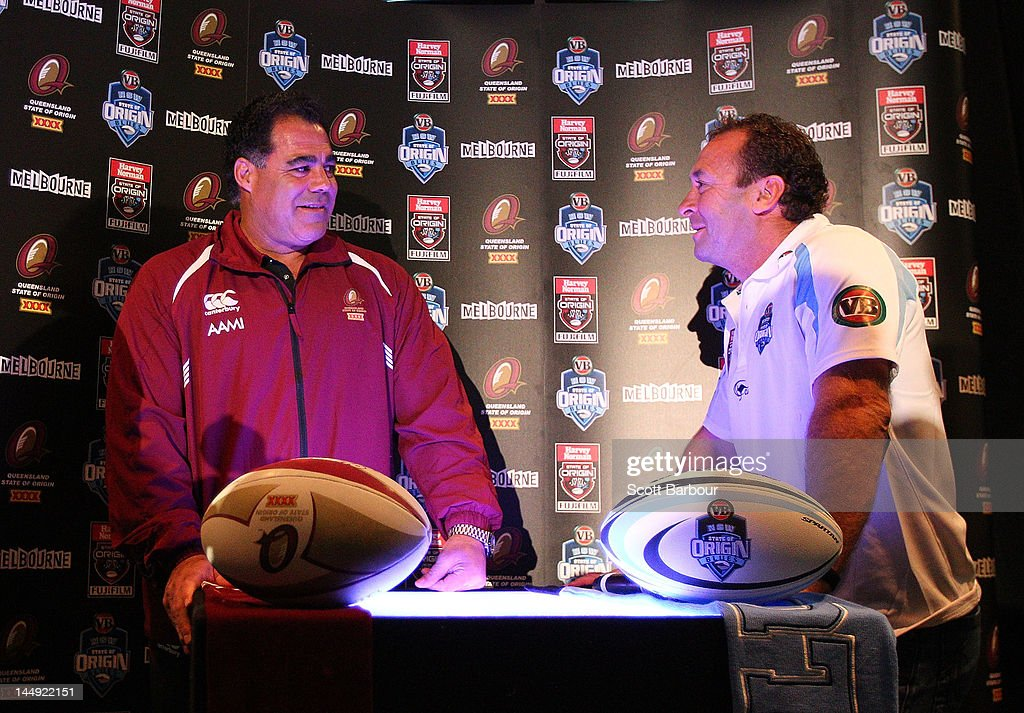 Queensland Coach Mal Meninga and New South Wales Coach Ricky Stuart talk during a State of Origin press conference at Etihad Stadium on May 21, 2012 in Melbourne, Australia.