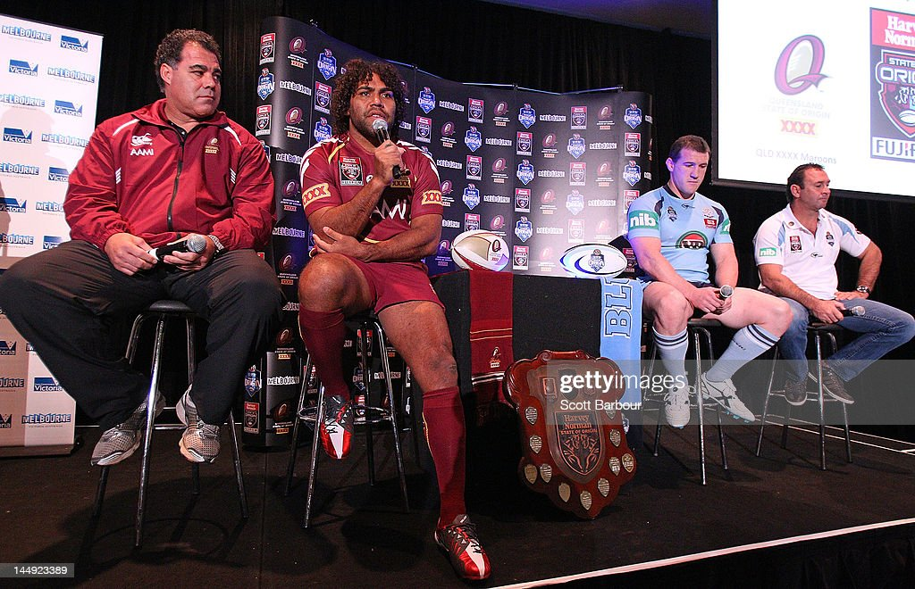 Queensland coach Mal Meninga and Sam Thaiday along with New South Wales captain Paul Gallen and coach Ricky Stuart speak to the media during a State of Origin press conference at Etihad Stadium on May 21, 2012 in Melbourne, Australia.