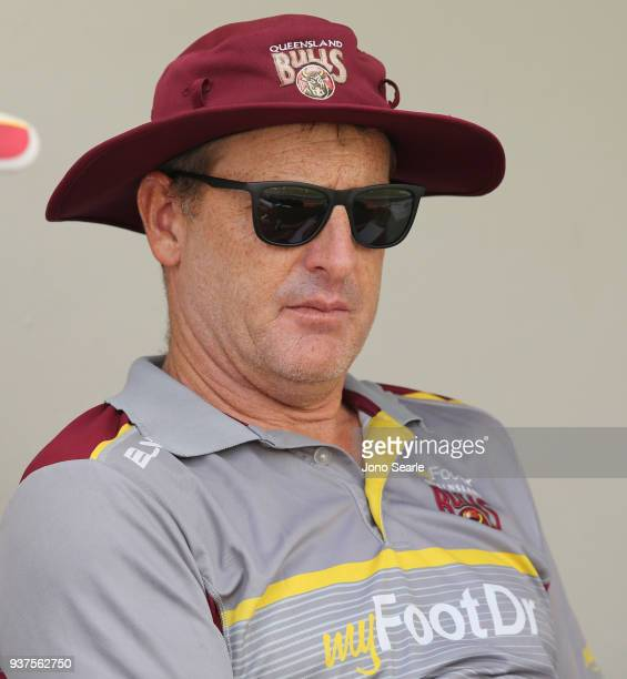 Queensland coach Wade Seccombe looks on during day three of the Sheffield Shield final match between Queensland and Tasmania at Allan Border Field on...