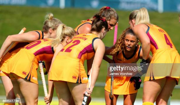 Queensland discuss their plan for their short corner at the women's 2017 Australian Hockey League Semi Final Game 2 between Queensland and Victoria...