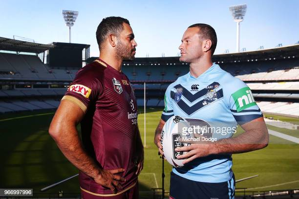 Queensland Maroons Captain Greg Inglis and New South Wales Blues Captain Boyd Cordner pose during a State of Origin media opportunity at Melbourne...