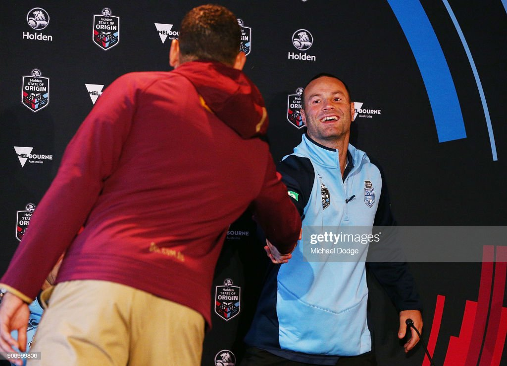 , Queensland Maroons Captain Greg Inglis (L) and New South Wales Blues Captain Boyd Cordner shake hands during a State of Origin media opportunity at Melbourne Cricket Ground on June 4, 2018 in Melbourne, Australia.