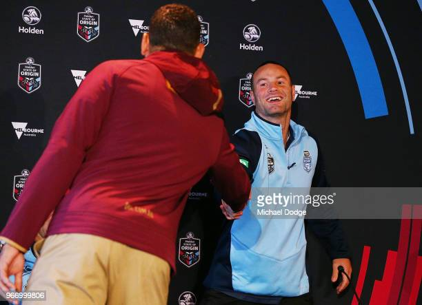 Queensland Maroons Captain Greg Inglis and New South Wales Blues Captain Boyd Cordner shake hands during a State of Origin media opportunity at...