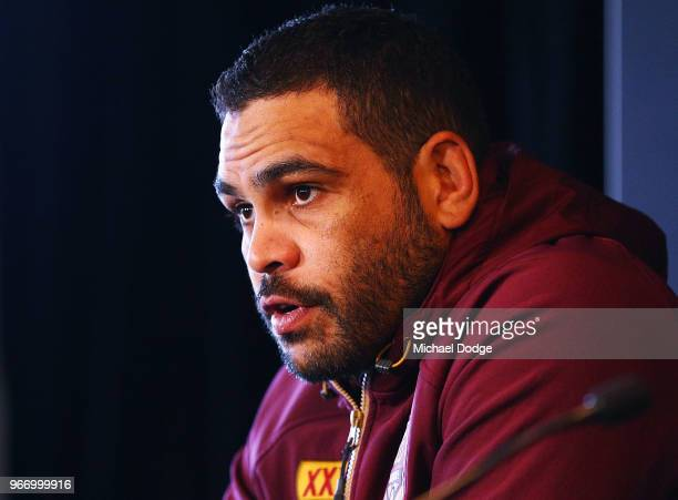 Queensland Maroons Captain Greg Inglis speaks to media during a State of Origin media opportunity at Melbourne Cricket Ground on June 4 2018 in...