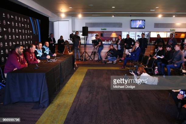 Queensland Maroons coach Kevin Walters and Captain Greg Inglis speak to media with New South Wales Blues coach Brad Fittler and Captain Boyd Cordner...