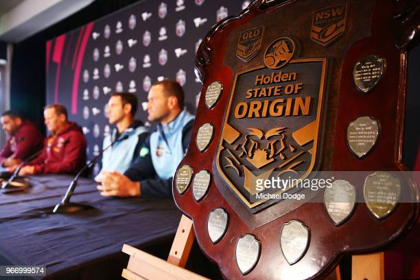 Queensland Maroons coach Kevin Walters and Captain Greg Inglis speaks to media with New South Wales Blues coach Brad Fittler and Captain Boyd Cordner...