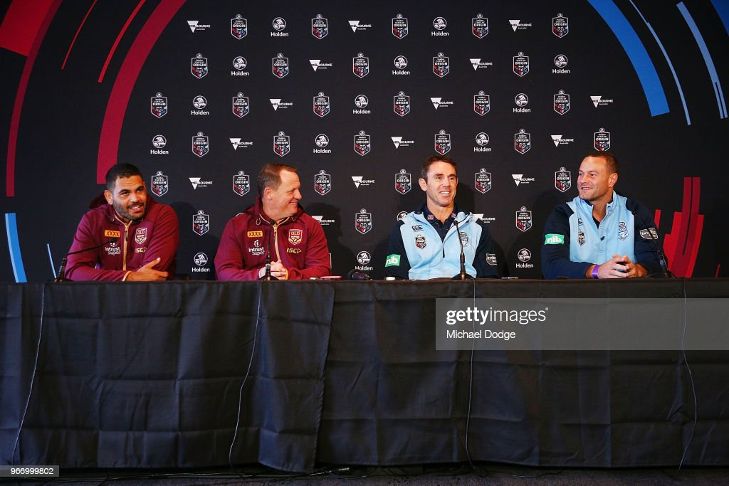 , Queensland Maroons coach Kevin Walters and Captain Greg Inglis (L) speaks to media with New South Wales Blues coach Brad Fittler and Captain Boyd Cordner during a State of Origin media opportunity at Melbourne Cricket Ground on June 4, 2018 in Melbourne, Australia.