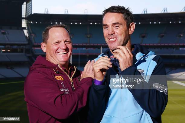 Queensland Maroons coach Kevin Walters and with New South Wales Blues coach Brad Fittler pose during a State of Origin media opportunity at Melbourne...