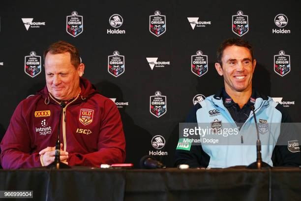 Queensland Maroons coach Kevin Walters and with New South Wales Blues coach Brad Fittler speak to media during a State of Origin media opportunity at...
