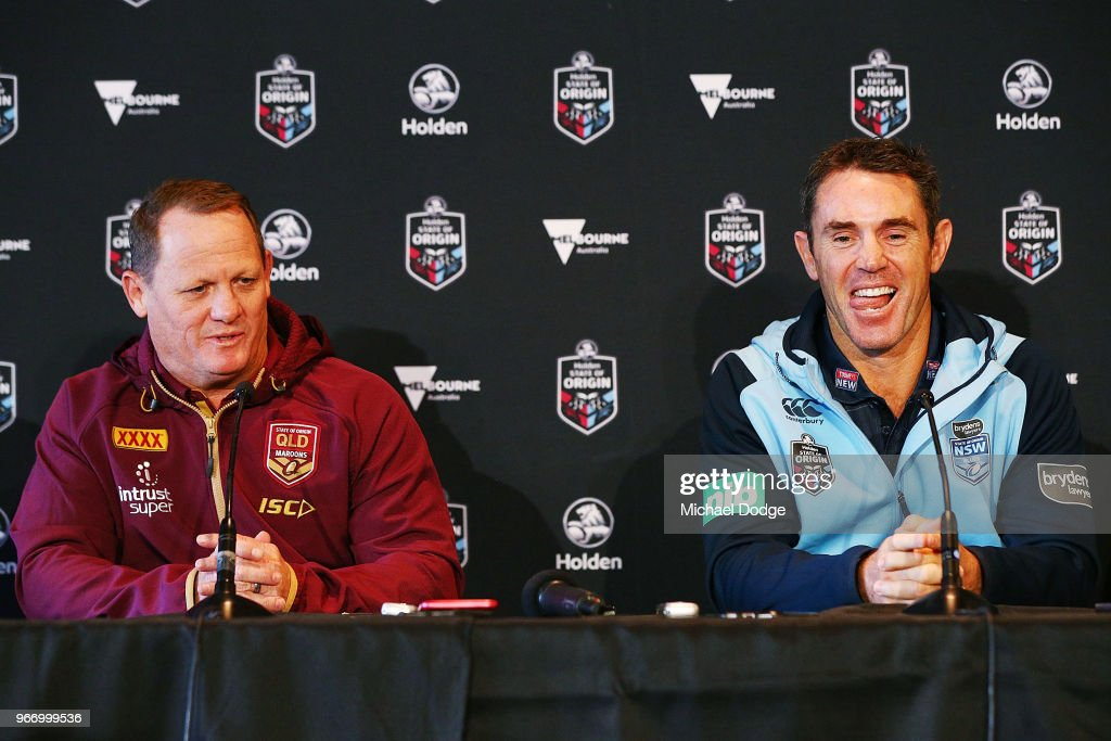 , Queensland Maroons coach Kevin Walters (L) and with New South Wales Blues coach Brad Fittler speak to media during a State of Origin media opportunity at Melbourne Cricket Ground on June 4, 2018 in Melbourne, Australia.