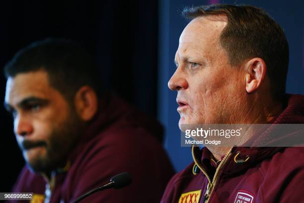 Queensland Maroons coach Kevin Walters speaks to media during a State of Origin media opportunity at Melbourne Cricket Ground on June 4 2018 in...