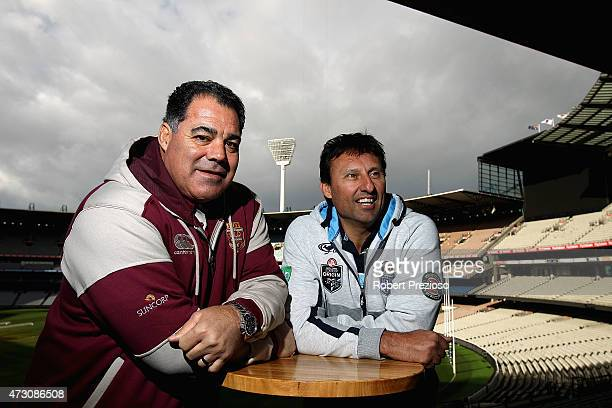 Queensland maroons coach Mal Meninga and NSW blues coach Laurie Daley pose for photos during a State of Origin media opportunity at Melbourne Cricket...
