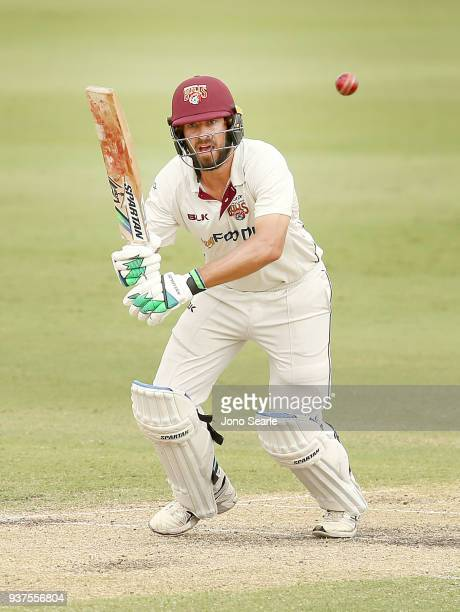 Queensland player Joe Burns looks to run during day three of the Sheffield Shield final match between Queensland and Tasmania at Allan Border Field...