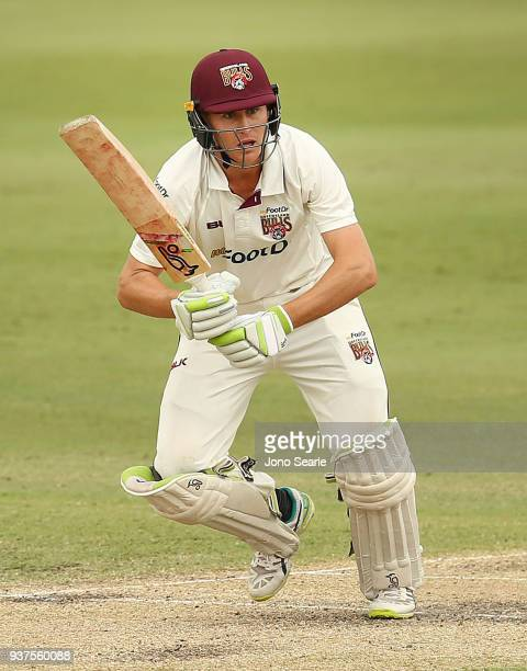 Queensland player Marnus Labuschagne plays a shot during day three of the Sheffield Shield final match between Queensland and Tasmania at Allan...