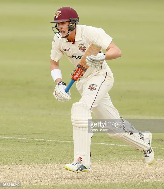Queensland player Matthew Renshaw calls to run during day three of the Sheffield Shield final match between Queensland and Tasmania at Allan Border...