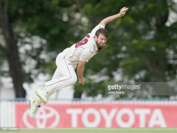 Queensland player Michael Neser bowls the ball during day two of the Sheffield Shield Final match between Queensland and Tasmania at Allan Border...