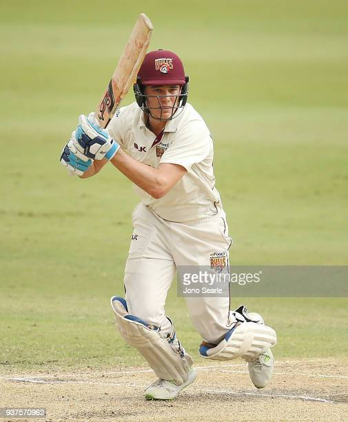Queensland player Sam Heazlett plays a shot during day three of the Sheffield Shield final match between Queensland and Tasmania at Allan Border...
