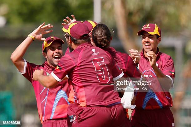 Queensland players celebrates a wicket during the National Indigenous Cricket Championships match between News South Wales and Queensland on February...