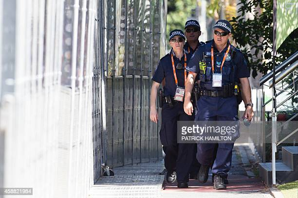 Queensland police patrol near the Brisbane Exhibition and Convention Centre ahead of the G20 Summit in Brisbane on November 12 2014 Leaders from the...