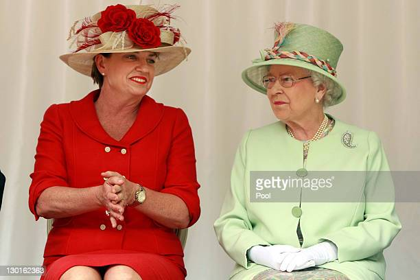 Queensland Premier Anna Bligh and Queen Elizabeth II look on before a Rainforest Walk at Southbank on October 24 2011 in Brisbane Australia The Queen...