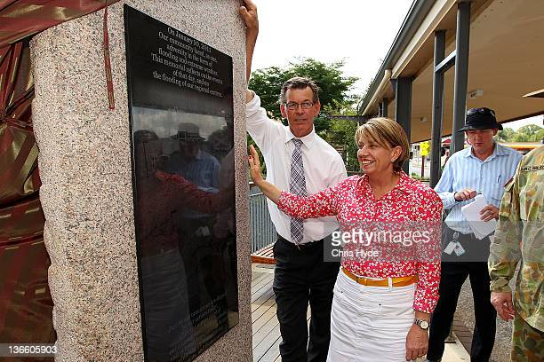 Queensland Premier Anna Bligh and Toowoomba Mayor Peter Taylor unveil The Stone of Hope memorial on January 9 2012 in Toowoomba January marks one...
