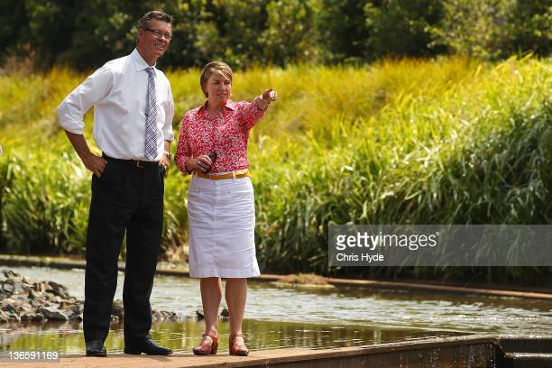 Queensland Premier Anna Bligh and Toowoomba Mayor Peter Taylor inspect West Creek on January 9 2012 in Toowoomba on January 9 2012 in Brisbane...