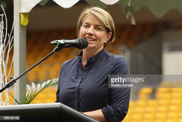 Queensland Premier Anna Bligh speaks during the Memorial for former Rugby League player Arthur Beetson at Suncorp Stadium on December 18 2011 in...