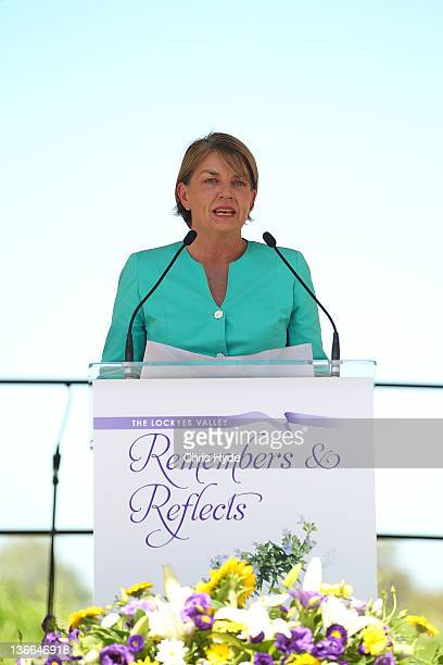 Queensland Premier Anna Bligh talks during a memorial held in Lake Apec Park on January 10 2012 in Gatton Australia January 10 marks the one year...