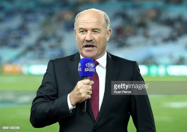 Queensland Rugby League Legend Wally Lewis commentates before game two of the State Of Origin series between the New South Wales Blues and the...