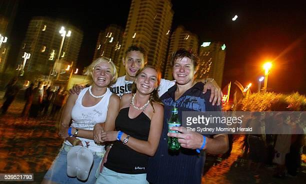Queensland School girls Sam Leroux and Celina Potts meet NSW schoolies Aaron Horvat and Adam Darby from Kingscliff at the DJ Dance tent Gold Coast 19...