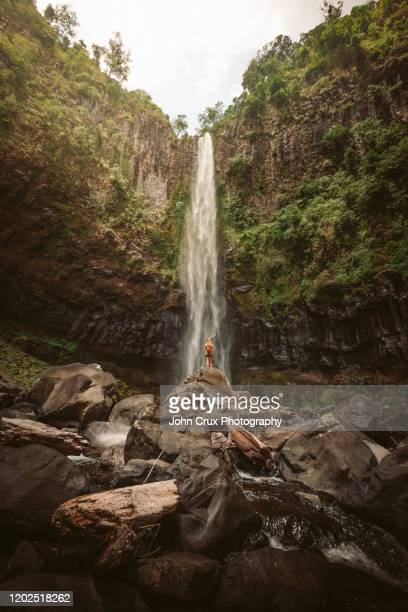 queensland waterfall backpacker - atherton tableland stock pictures, royalty-free photos & images