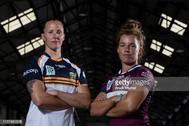 Queenslands Lori Cramer and ACT Brumbies Michelle Milward pose during the Super Rugby Super W Season Launch at Carriageworks on February 05 2019 in...