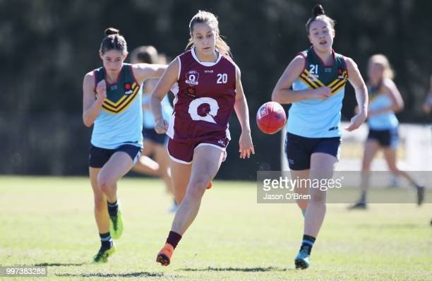 Queensland's Natalie Grider in action during the AFLW U18 Championships match between Queensland and Eastern Allies at Bond University on July 13...