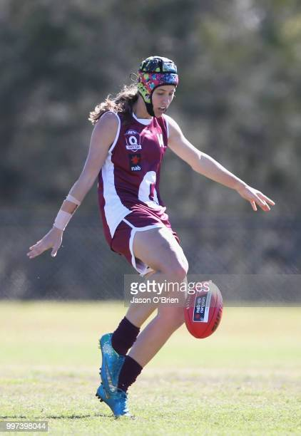 Queensland's Tori GrovesLittle in action during the AFLW U18 Championships match between Queensland and Eastern Allies at Bond University on July 13...