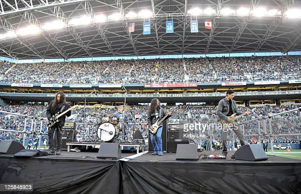 Queensryche guitarist Michael Wilton, Heart drummer Ben Smith, Alice in Chains bassist Mike Inez and Queensryche guitarist Chris DeGarmo perform...