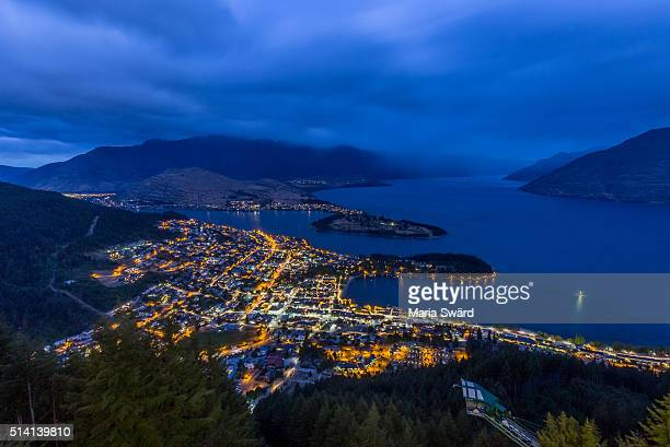 Queenstown - Aerial City View at Twilight