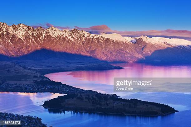Queenstown and Lake Wakatipu at dusk, New Zealand