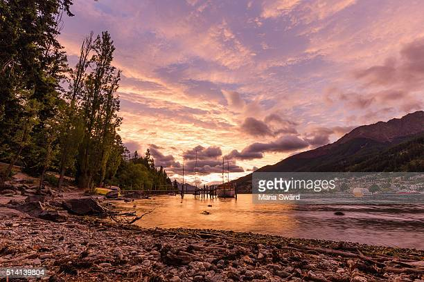 Queenstown - Colorful Sunset from Beach