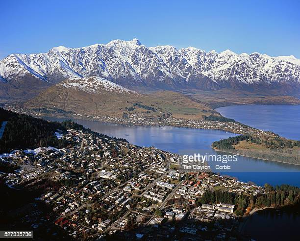 Queenstown New Zealand with the snow capped Remarkables mountain range providing a stunning backdrop Queenstown is nestled on the shores of the...